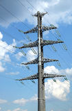 High-voltage power line grey metal prop. With many wires vertical view closeup Royalty Free Stock Photos