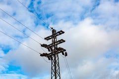 High voltage power line. Huge metal rack of high voltage power lines Stock Image