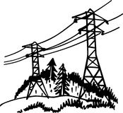 High voltage power line. This image is a black and white vector illustration of a high voltage power line and can be scaled to any size without loss of Stock Photos