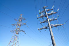 High-voltage power line metal prop  over clear cloudless blue sky Royalty Free Stock Image
