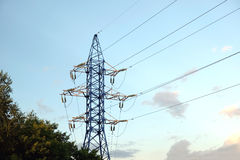 High-voltage power line metal prop Royalty Free Stock Image