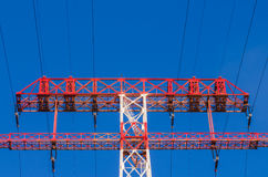 High-voltage power line. Supports of high-voltage power lines against the blue sky Royalty Free Stock Images