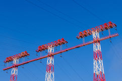 High-voltage power line. Supports of high-voltage power lines against the blue sky Royalty Free Stock Photo