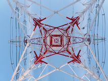 High voltage power line tower looking from bottom Royalty Free Stock Images