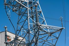 High voltage power line tower sky closeup.  royalty free stock photography