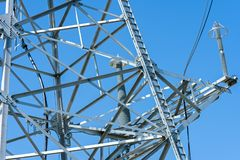 High voltage power line tower sky closeup.  royalty free stock photo