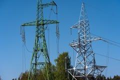 High voltage power line tower sky closeup.  stock photo