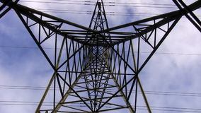 High voltage power line tower top zoom in Royalty Free Stock Images