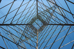 High voltage power line. Tower of a power line viewed from inside Stock Photos