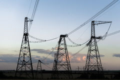 High-voltage power line. Towers for power transmission lines high voltage Stock Photo