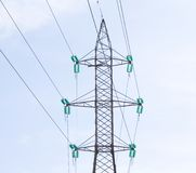 High voltage power lines. Close caption Royalty Free Stock Image