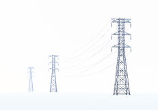 High voltage power lines Royalty Free Stock Images