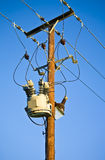 High voltage power lines. High voltage power and electrical lines with transformer royalty free stock photography