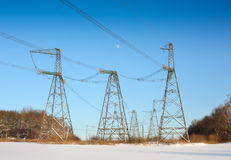 High voltage power lines Stock Photos