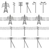 High voltage power lines. Electricity pylon silhouette Royalty Free Stock Image