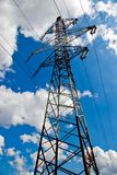 High voltage power-lines. High voltage electrical power-lines stock photography