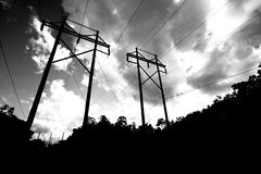 High voltage power lines. Black and white photo of high voltage power lines in Tallahassee, Florida Royalty Free Stock Photography