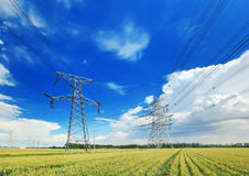 High voltage power lines above wheat field Stock Photo