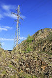 High voltage power lines in Altai Mountains Royalty Free Stock Photo