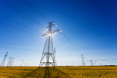 High Voltage Power Lines Backlight Royalty Free Stock Images
