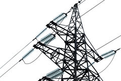 High voltage power lines and big pylon Royalty Free Stock Photo