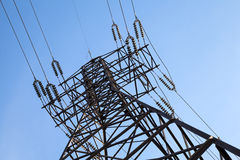 High voltage power lines and big pylon Royalty Free Stock Photos