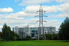 High voltage power lines in the city Stock Image