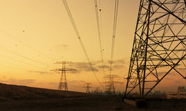 High voltage power lines. In Dubai Stock Photography