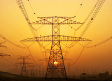 High voltage power lines. In Dubai Stock Photo