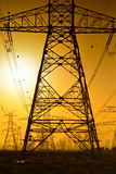 High voltage power lines. In Dubai Royalty Free Stock Image