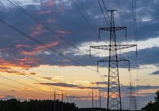 High-voltage power lines. Electricity distribution station. high. Voltage electric transmission tower. Distribution electric substation with power lines and stock photo