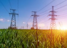 High-voltage power lines. Electricity distribution station. high voltage electric transmission tower. Distribution electric. Substation with power lines and stock photography