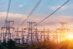 High-voltage power lines. Electricity distribution station. high. Voltage electric transmission tower. Distribution electric substation with power lines and royalty free stock images