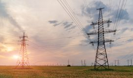 High-voltage power lines. Electricity distribution station. high voltage electric transmission tower. Distribution electric royalty free stock images