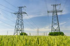 High-voltage power lines. Electricity distribution station. high voltage electric transmission tower. Distribution electric royalty free stock photos