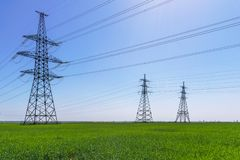 High-voltage power lines. Electricity distribution station. high voltage electric transmission tower. Distribution electric royalty free stock photo