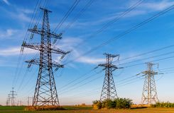 High-voltage power lines. Electricity distribution station. high voltage electric transmission tower. Distribution electric royalty free stock image