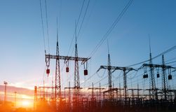 High-voltage power lines. Electricity distribution station. high voltage electric transmission tower. Distribution electric stock photos