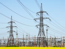 High-voltage power lines. electricity distribution station stock images