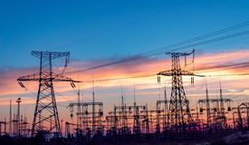 High-voltage power lines. Electricity distribution station. hig. H voltage electric transmission tower. Distribution electric substation with power lines and stock photo