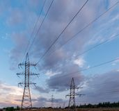 High-voltage power lines. Electricity distribution station. high. Voltage electric transmission tower. Distribution electric substation with power lines and stock images