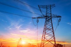 High-voltage power lines. Electricity distribution station. high voltage electric transmission tower. Distribution electric. Substation with power lines and stock photos