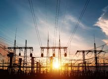 High-voltage power lines. Electricity distribution station. high voltage electric transmission tower. Distribution electric substa stock photography