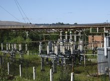 High-voltage power lines . electricity distribution station . stock photos
