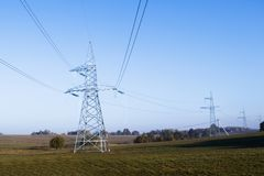 High voltage power lines. horizon line is wrong. electrical distribution station. High voltage power lines. horizon line is wrong. electrical distribution royalty free stock photography