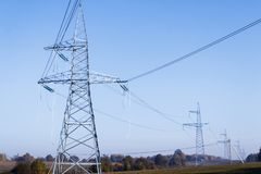 High voltage power lines. horizon line is wrong. electrical distribution station. High voltage power lines. horizon line is wrong. electrical distribution stock images