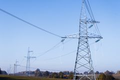High voltage power lines. horizon line is wrong. electrical distribution station. High voltage power lines. horizon line is wrong. electrical distribution royalty free stock photos