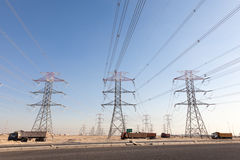 High voltage power lines. In Kuwait, Middle East Royalty Free Stock Photos