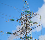 High voltage power lines and large pylon Stock Photos