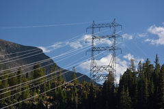 High Voltage Power Lines in the Mountains Royalty Free Stock Image